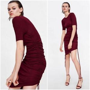 Zara Maroon Side Drawstring Dress Style: rn77302